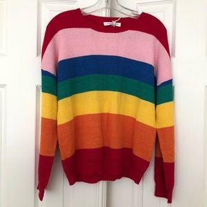 Honey Punch Kawaii Rainbow Striped Sweater NWT